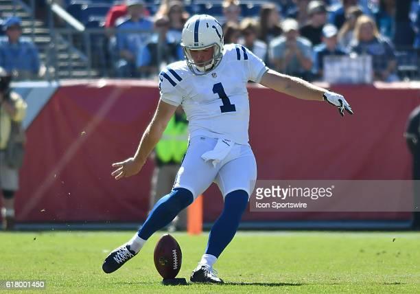 Indianapolis Colts punter Pat McAfee kicking off during the game between the Indianapolis Colts and the Tennessee Titans. The Indianapolis Colts...