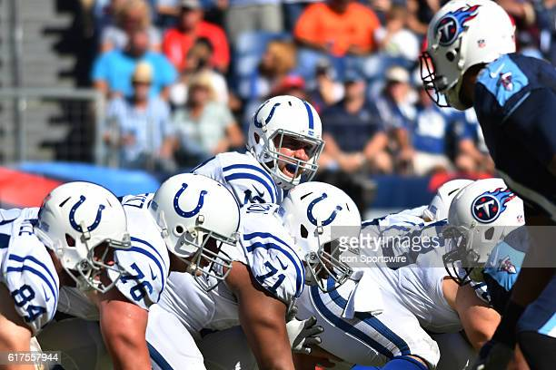 Indianapolis Colts quarterback Andrew Luck calls the snap count during the game between the Indianapolis Colts and the Tennessee Titans The...