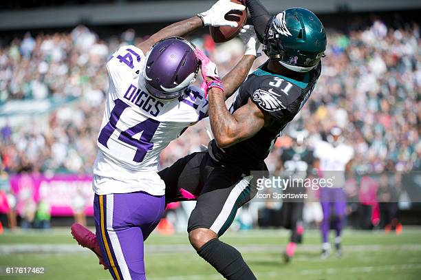 Philadelphia Eagles Cornerback Jalen Mills breaks up a pass to Minnesota Vikings Wide Receiver Stefon Diggs in the first half during the game between...