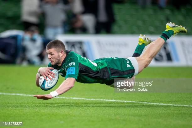 October 23: Diarmuid Kilgallen of Connacht dives over for a try during the Connacht V Ulster, United Rugby Championship match at Aviva Stadium on...