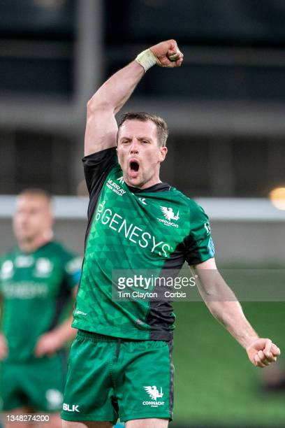 October 23: Jack Carty of Connacht reacts to his sides victory after kicking a conversion after the final whistle during the Connacht V Ulster,...