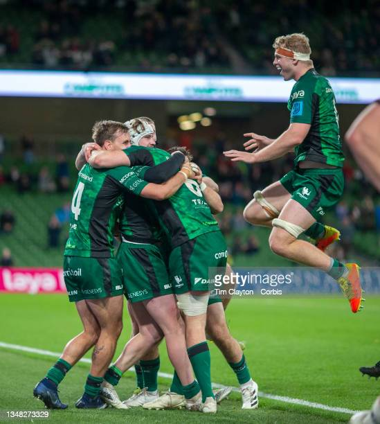 October 23: Mack Hansen of Connacht is congratulated by team mates after scoring a break away try during the Connacht V Ulster, United Rugby...