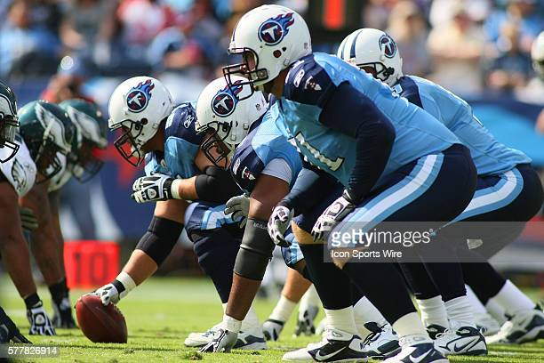 Tennessee Titans offensive line gets set for a play during first half action The Tennessee Titans defeated the Philadelphia Eagles 3719 at LP Field...