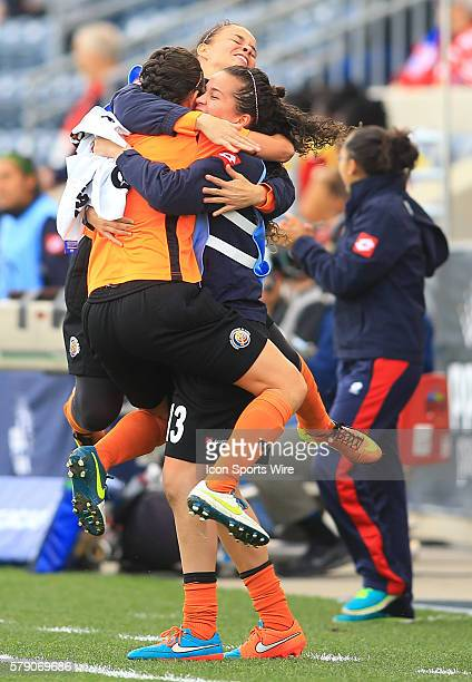 Dinnia Diaz of Costa Rica with bench players after the first goal for her team against Trinidad Tobago during a CONCACAF Women's World Cup semifinal...