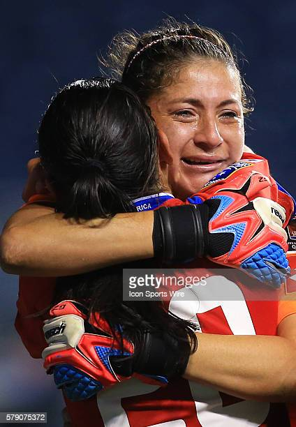 Tears of joy from Dinnia Diaz of Costa Rica after she saved all of Trinidad Tobago penalty kicks to insure victory for her team during a CONCACAF...