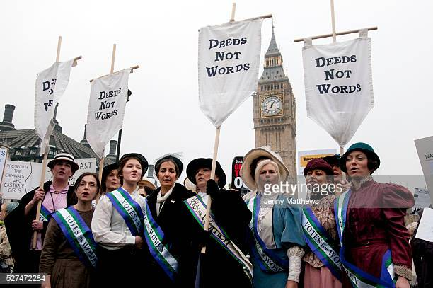 October 24th Westminster London Uk Lobby of Parliament by UK Feminista Women dressed as suffragettes including Dr Helen Pankhurst greatgranddaughter...