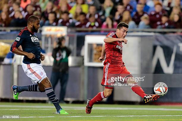 Toronto FC's Daniel Lovitz gets a shot off after beating New England Revolution's Andrew Farrell The New England Revolution defeated Toronto FC 10 in...