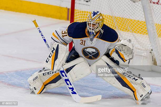 Buffalo Sabres goalie Anders Nilsson defends the net during the NHL game between the Buffalo Sabres and the Philadelphia Flyers played at the Wells...