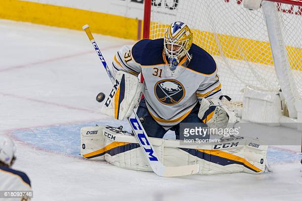 Buffalo Sabres goalie Anders Nilsson makes the save during the NHL game between the Buffalo Sabres and the Philadelphia Flyers played at the Wells...