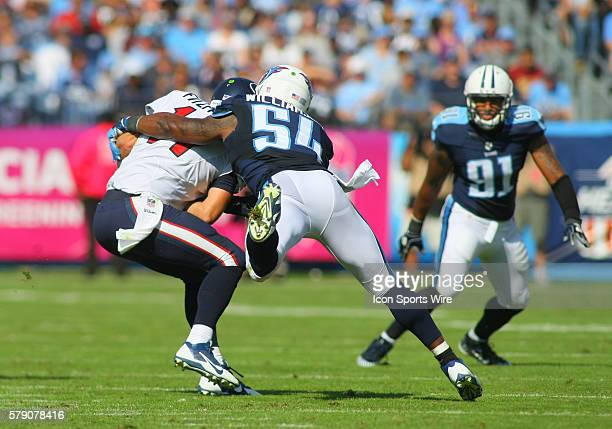 Houston Texans Quarterback Ryan Fitzpatrick is sacked by Tennessee Titans Linebacker Avery Williamson during game action The Texans lead the Titans...