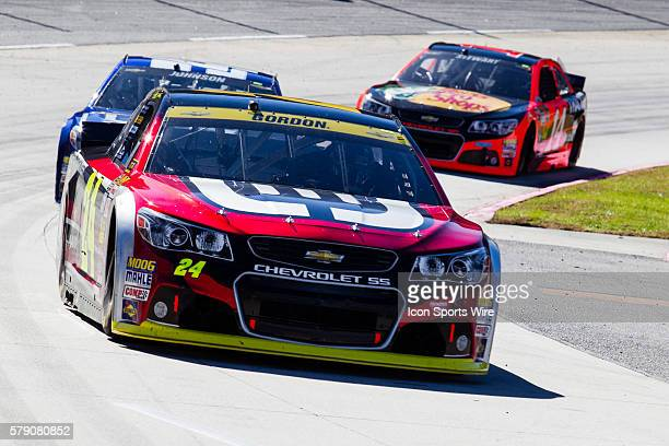 NASCAR Chase contender Jeff Gordon driver of the Drive to End Hunger Chevrolet exiting turn 2 during the NASCAR Sprint Cup Series Goody's Headache...