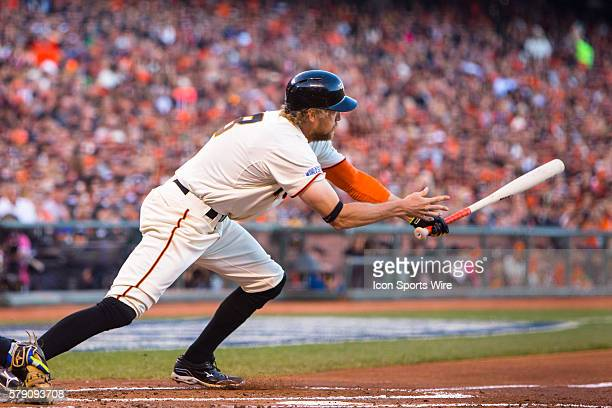 San Francisco Giants right fielder Hunter Pence at bat and following the trajectory of the ball in the 2nd inning during game 5 of the World Series...