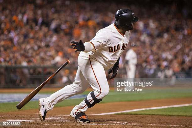 San Francisco Giants third baseman Pablo Sandoval at bat and following the trajectory of the ball after getting a base hit in the 8th inning during...