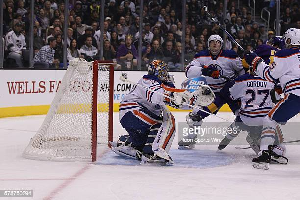 Edmonton Oilers goalie Richard Bachman makes a save against the Los Angeles Kings during the game at Staples Center in Los AngelesCA
