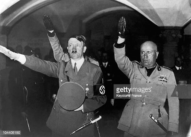 October 28 1940 German chancellor Adolf HITLER and the Duce Benito MUSSOLINI paying honor to the souls of the deceased during their visit to the tomb...