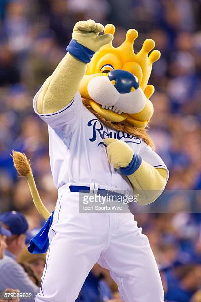 Kansas City Royals mascot Slugger celebrates on the dugout after the World Series game 6 between the San Francisco Giants and the Kansas City Royals...