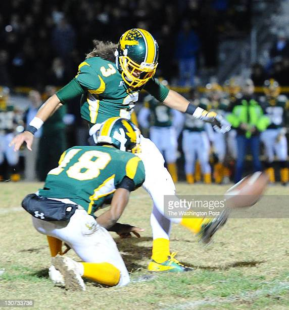 GERMANTOWN MD October 28 Seneca Valley K Junior Arcaro hits a 40 plus yard firld goal during 2nd quarter action against Damascus on October 2011 in...