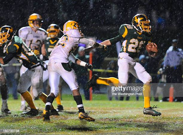 GERMANTOWN MD October 28 Seneca Valley RB Kellon Staton leaps into the endzone for a 4th quarter touchdown against Damascus to ice their 2919 win on...