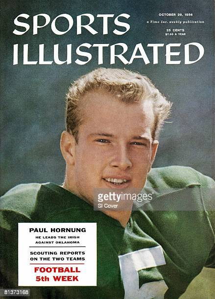 October 29 1956 Sports Illustrated via Getty Images Cover College Football Closeup portrait of Notre Dame QB Paul Hornung during spring practice...