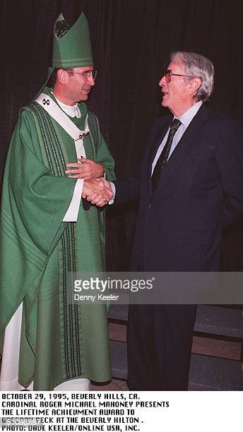 October 29 1995Beverly Hills Ca Cardinal Roger Mahony And Actor Gregory Peck Who Receive The Lifetime Achievment Award At The Beverly Hilton Hotel