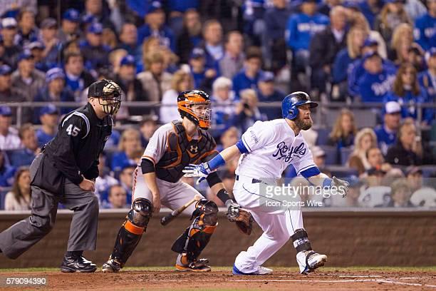 Kansas City Royals left fielder Alex Gordon during the MLB World Series Game 7 matchup between the San Francisco Giants and the Kansas City Royals at...