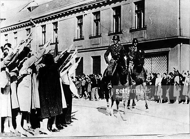October 3 1939  Poland  Some Germans of Lodz greet the German troops entering the city