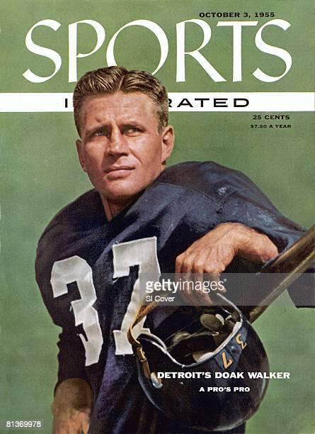 October 3 1955 Sports Illustrated Cover Football Closeup portrait of Detroit Lions Doak Walker Detroit MI 8/22/1955