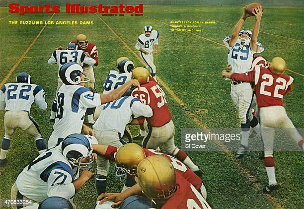 October 3, 1966 Sports Illustrated via Getty Images Cover: Football: Los Angeles Rams QB Roman Gabriel in action, making quick-in pass to Tommy...