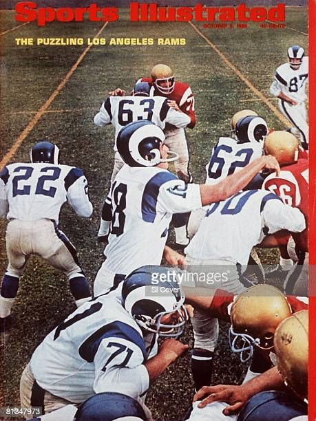October 3, 1966 Sports Illustrated via Getty Images Cover, Football: Los Angeles Rams QB Roman Gabriel in action, making pass to Tommy McDonald...