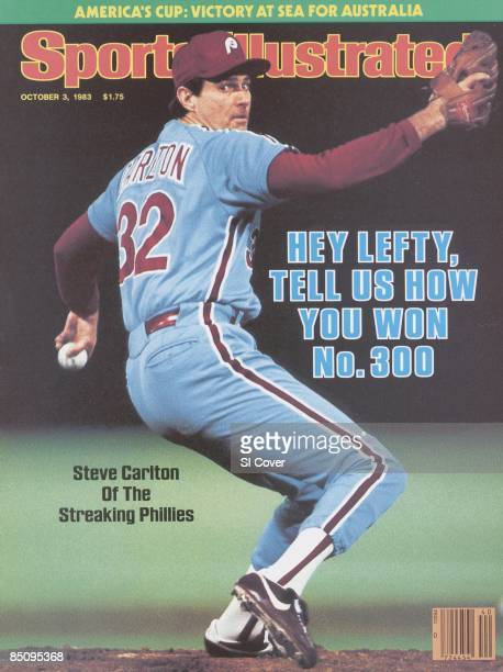 Baseball Philadelphia Phillies Steve Carlton in action pitching 300th career win during game vs St Louis Cardinals St Louis MO 9/25/1983 CREDIT Manny...