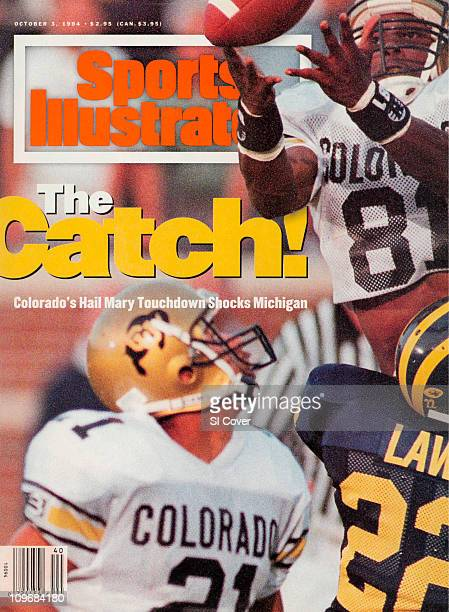 College Football Colorado Michael Westbrook in action making game winning touchdown catch vs Michigan Ty Law after time expired at Michigan Stadium...