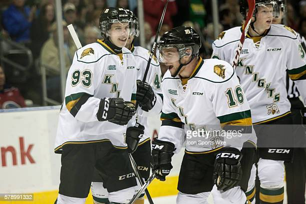 October 3, 2014. London Knights players Mitchell Marner and Max Domi celebrate after a goal during a game between the London Knights and the...