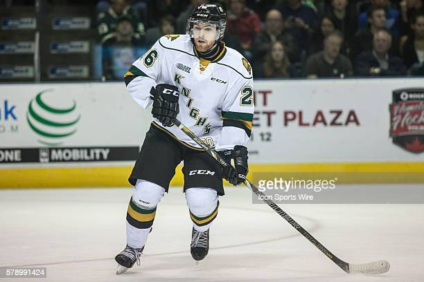 October 3, 2014. Tait Seguin of the London Knights follows the play during a game between the London Knights and the Kitchener Rangers at Budweiser...