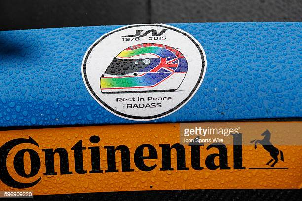 A tribute decal to deceased race car driver Justin Wilson before the Petit Le Mans Powered by Mazda the seasonending IMSA race in the TUDOR United...