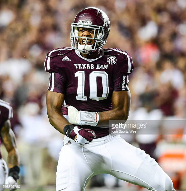 Texas AM Aggies defensive lineman Daeshon Hall celebrates a huge first half sack during the Mississippi State Bulldogs vs Texas AM Aggies game at...