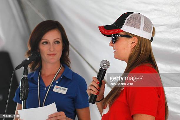 Erica EndersStevens is interviewed in the Club Nitro hospitality tent by LVMS employee Hannah Rickards during the 15th Annual NHRA Toyota Nationals...