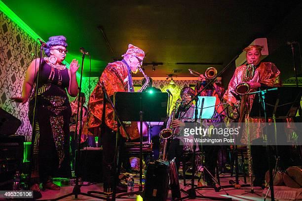 WASHINGTON DC October 30 2015 The Sun Ra Arkestra under the direction of Marshall Allen performs at Liv nightclub in Washington DC The 91yearold...