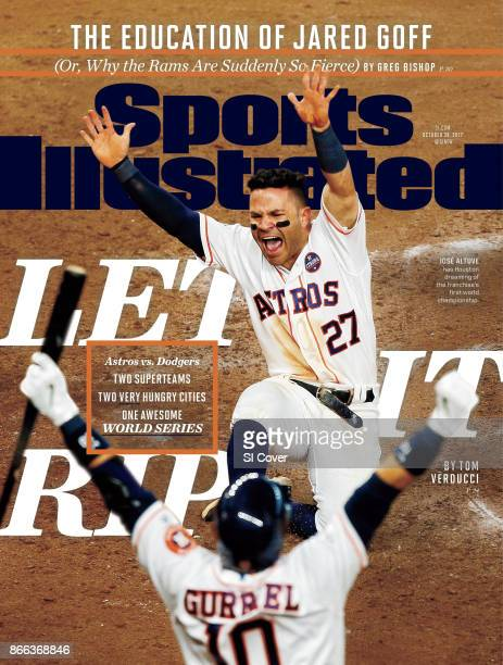 October 30 2017 Sports Illustrated Cover ALCS Playoffs Houston Astros Jose Altuve victorious with Yuli Gurriel after scoring gamewinning run vs New...