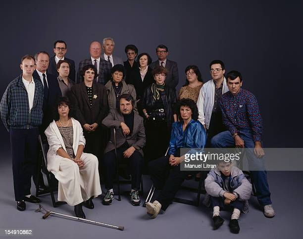 October 31 1989 Victims of terrorist attacks in France during 80 years in the studio pose Seated gad BONIVAR Colette JeanBaptiste BIANCO Francoise...