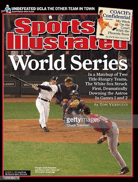 October 31 2005 Sports Illustrated via Getty Images Cover Baseball World Series Chicago White Sox Scott Podsednik in action hitting game winning home...