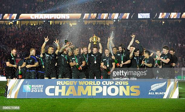 New Zealand's Richie McCaw lifts the Webb Ellis Trophy after New Zealand defeats Australia 34-17 at the 2015 Rugby World cup Championship match at...