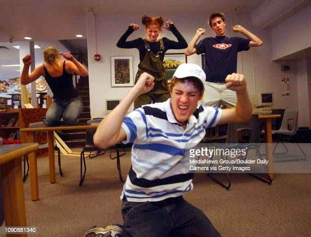 October 4 2004 / Boulder CO / Morgan ShawFox center dances during a rehearsal of the Breakfast Club while his cast mates Anna Vernier left Ayla...