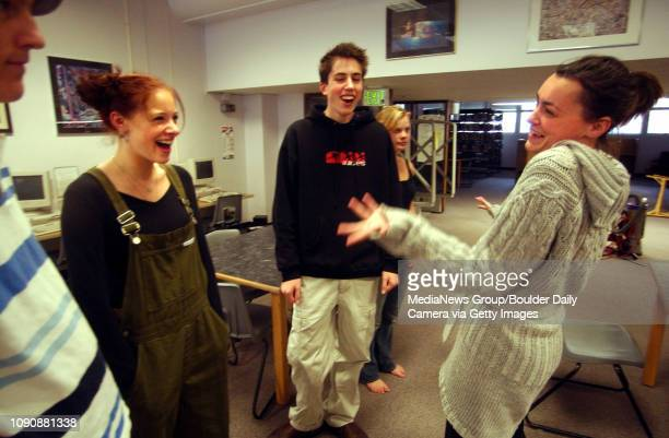 October 4 2004 / Boulder CO / Nicole Kalayeh drama teacher and director for the Boulder High production of the Breakfast Club goes over the play with...