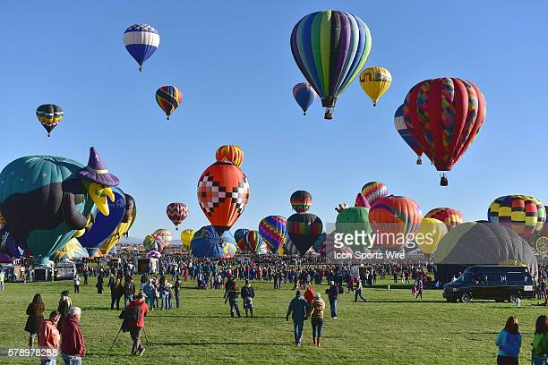 A view of the many balloons during the Mass Ascencion at the opening of the International Balloon Fiesta at Balloon Fiesta Park in Albuquerque New...