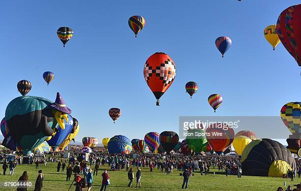 during the Mass Ascencion at the opening of the International Balloon Fiesta at Balloon Fiesta Park in Albuquerque New Mexico