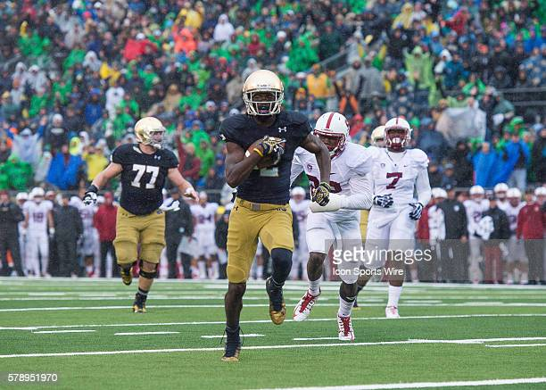 Notre Dame Fighting Irish wide receiver Chris Brown scores a touchdown to tie game at 77 during a football game between the Notre Dame Fighting Irish...