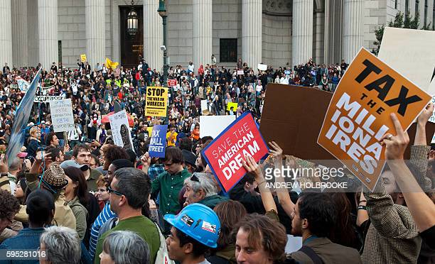 "October 5, 2011 - The ""Occupy Wall Street"" protest movement was joined by union members. They marched from Foley Square to Zuccotti Park past court..."