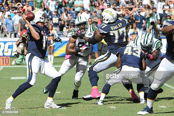 October 5 2014 San Diego CA USA San Diego Chargers Offensive Tackle King Dunlap and San Diego Chargers Running Back Branden Oliver provide protection...