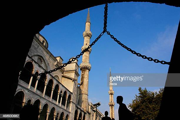 October 5 Sultanahmet Blue Mosque Sultanahmet District Istanbul Turkey One of the many entrances to the Sultanahmet Blue Mosque located in the...