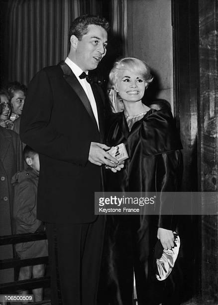 October 6Th 1958 Paris Trocadero Noelle Adam And Sidney Chaplin At Le Miroir A Deux Faces Movie Premiere